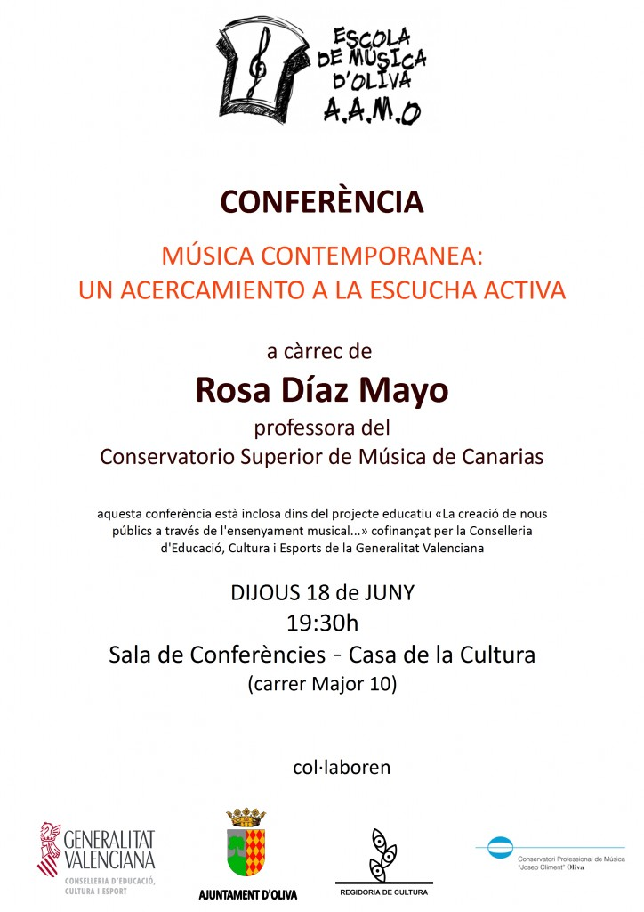 cartell conferència música contemporània